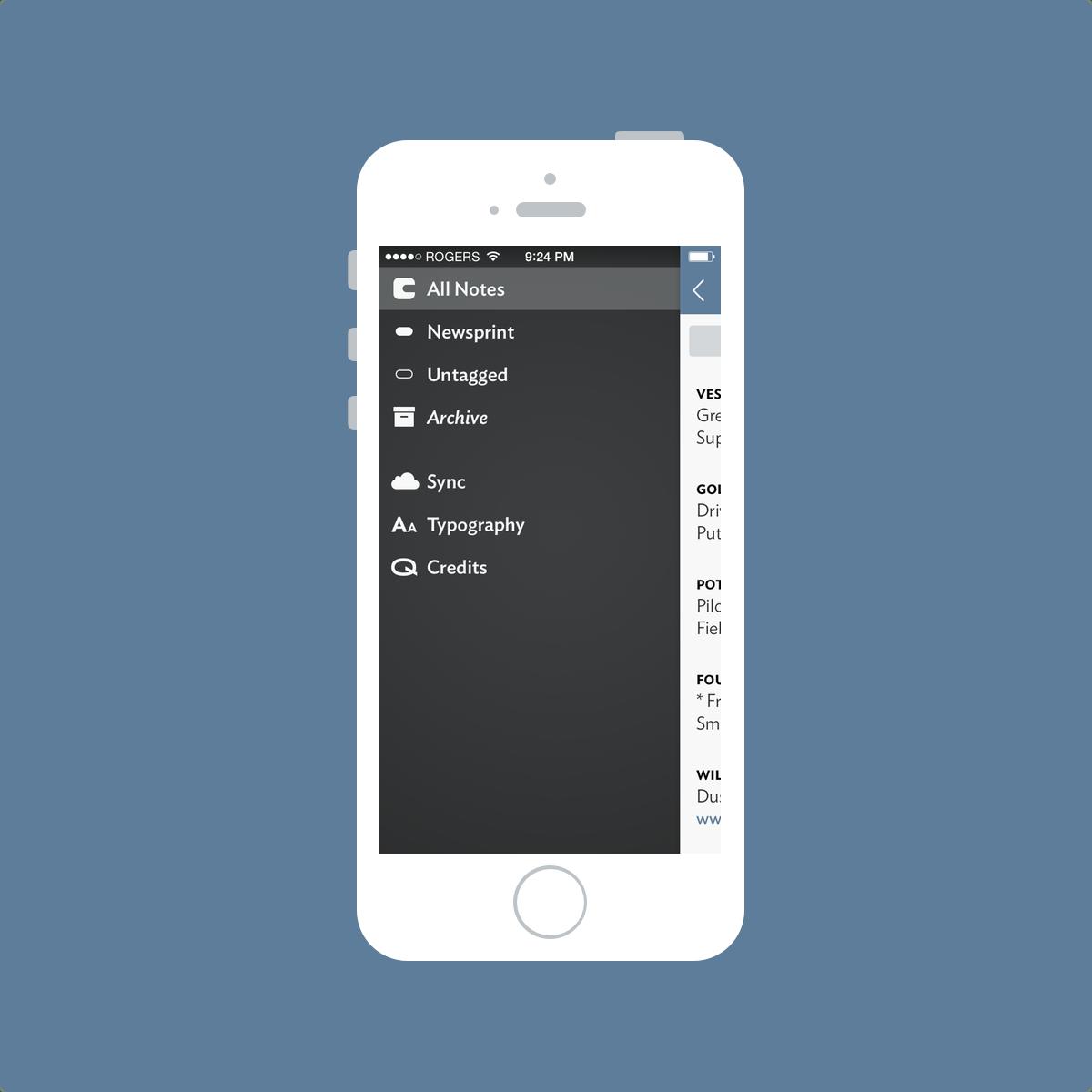 Vesper Left Sidebar Screenshot